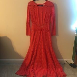 Red Orange Lace Statement Dress